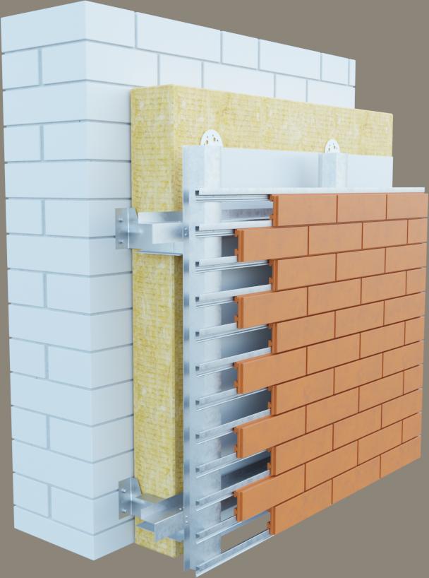 Укладка плитки фасадной при помощи крепежной системы
