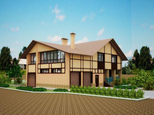 Интересный проект дизайна фасада деревянного дома в 3Д проекции