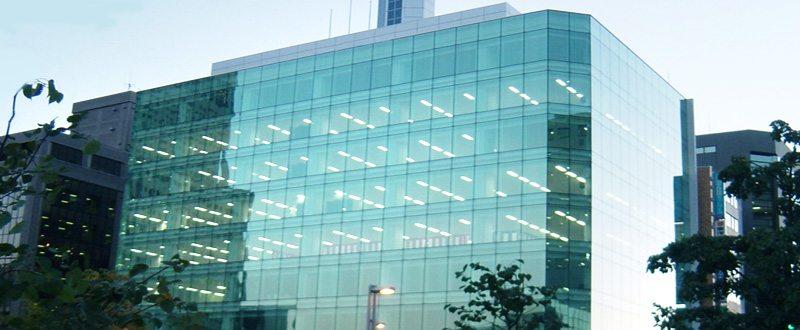 Фасад, остекленный по безрамному типу