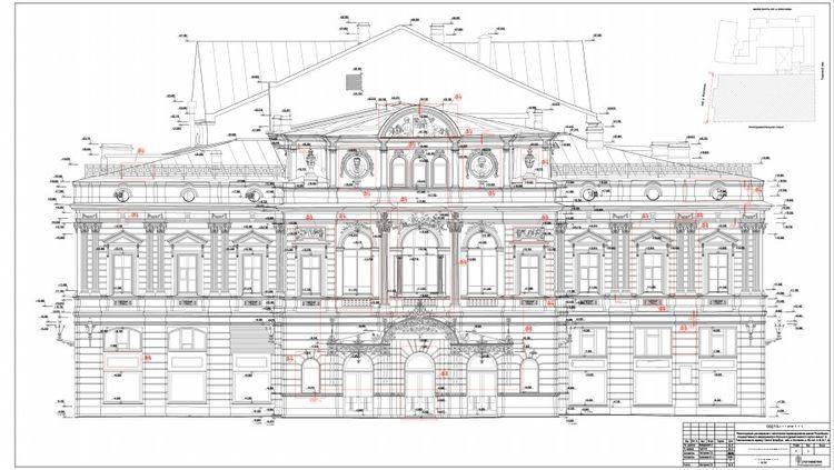 выполненный по всем правилам чертеж фасада