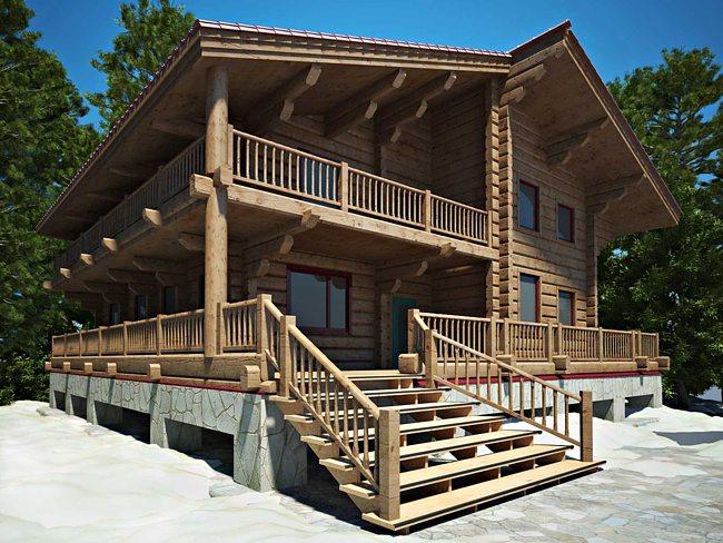 Деревянный дом с просторной мансардой, верандой и крыльцом.