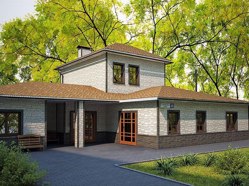 Облицовка фасада, выполненная комбинированием нескольких фактур и цветов цокольного сайдинга