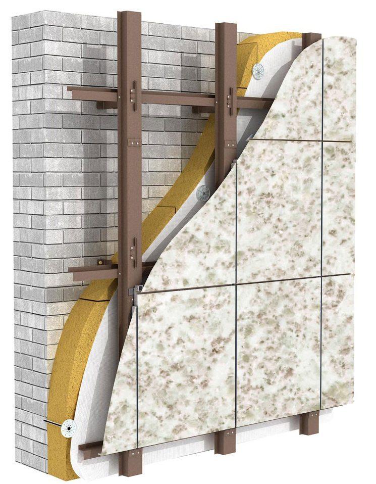 схема устройства вентилируемого керамогранитного фасада