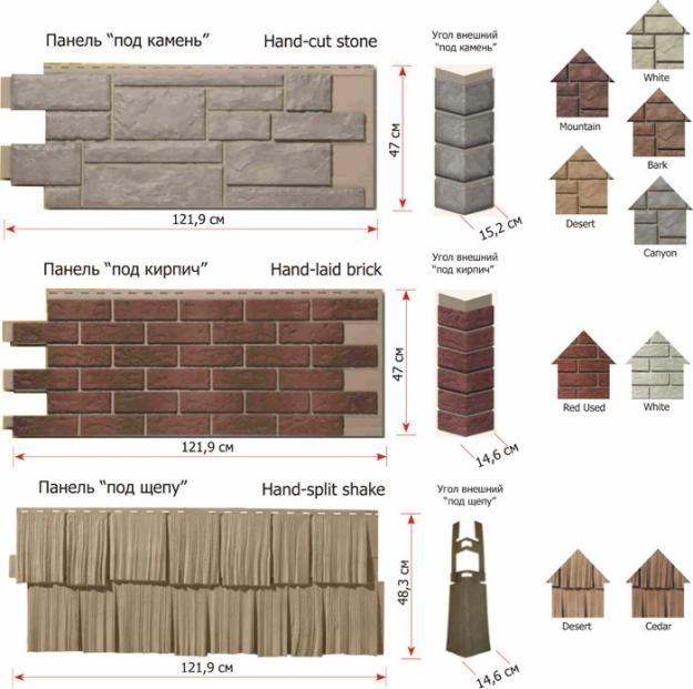 Варианты панелей сайдинга с разнообразным декором и системой крепления