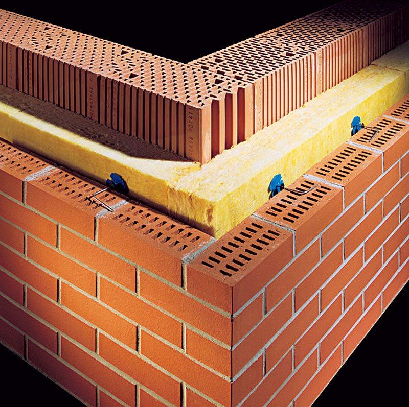 Схема облицовки фасада клинкерным кирпичом с использованием утеплителя и воздушной прослойки