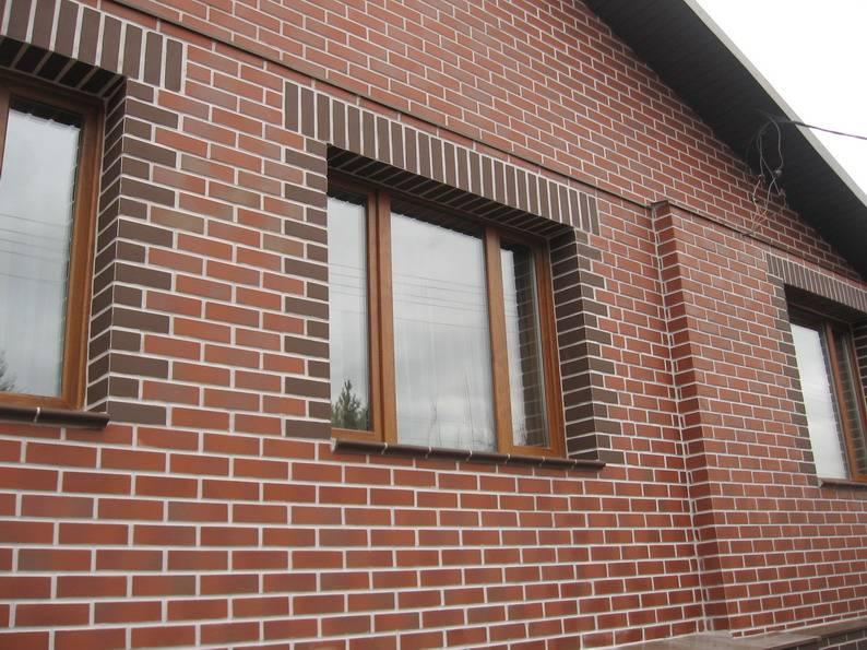 Вариант внешней отделки здания клинкерным кирпичом разного цвета и текстуры