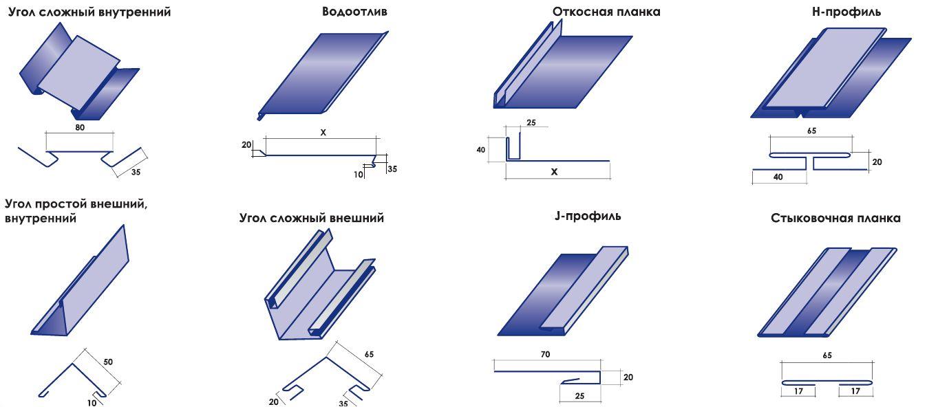 Комплектующие металлического сайдинга для переходов и соединений
