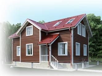 Дом с отделкой фасада под бревно металлическим сайдингом.