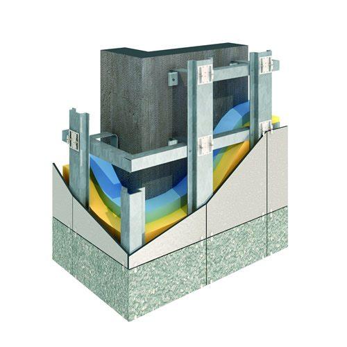 Схема монтажа керамогранита на вентиляционную подсистему