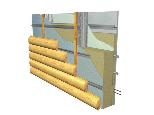 На фото схема монтажа отделочного материала с применением обрешетки