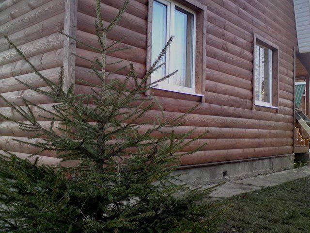 Облицовка дома под сруб деревянным Блок Хаусом.