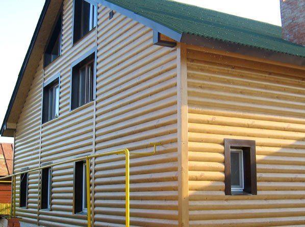 Облицовка здания металлическим Блок Хаусом