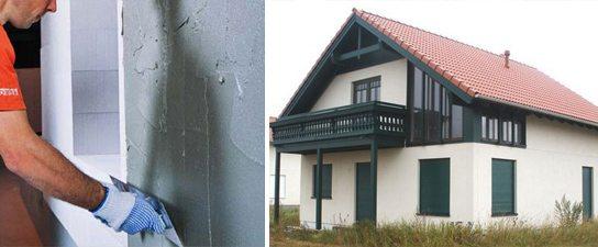 Отделка фасадов домов из газобетона штукатурными смесями