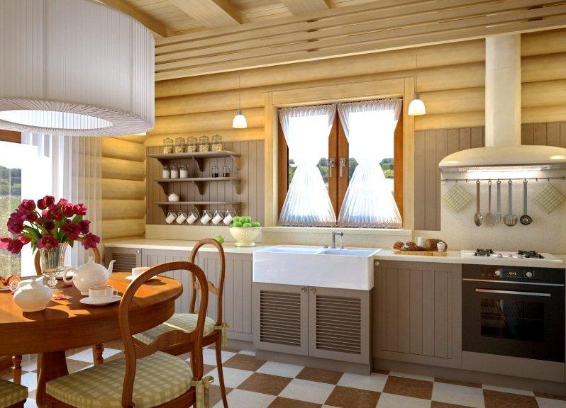 отделка кухни деревянными ламелями
