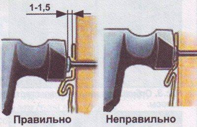 На фото представлены правила установки крепежных элементов в монтажные отверстия цокольного сайдинга