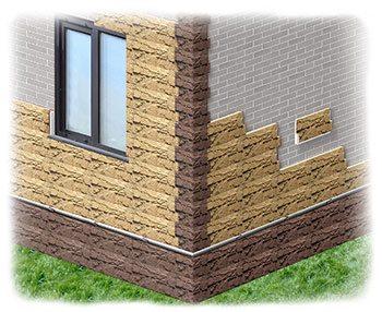 Отделка фасада дома панелями под камень. Цокольный сайдинг