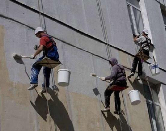 покраска фасадов альпинистами