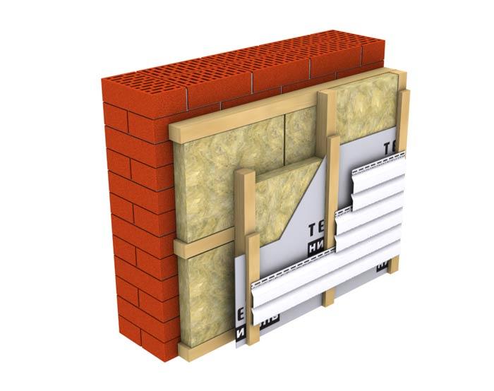Расположение слоя утеплителя и монтаж каркаса для крепежа панелей отделки