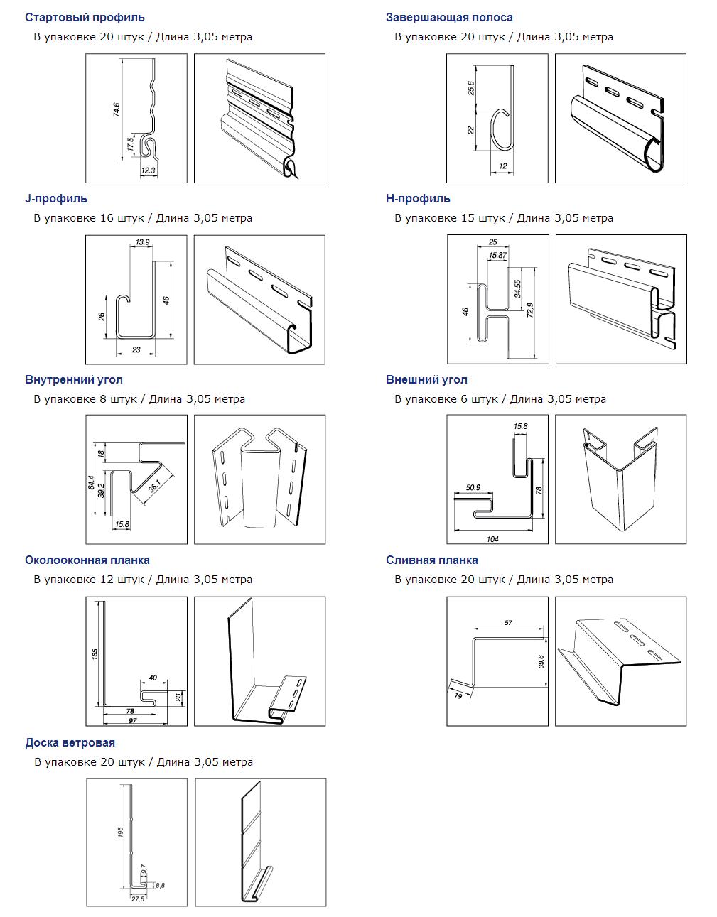 Размеры комплектующих ОРТО