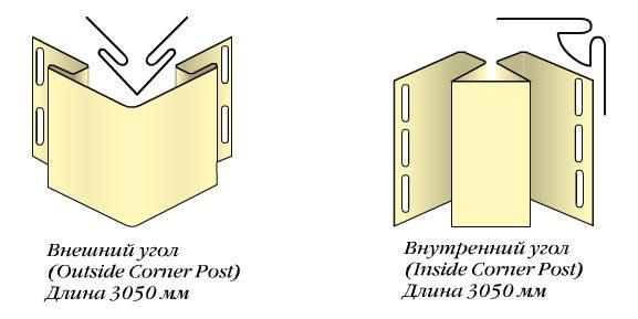 Внешний и внутренний пластиковый угол для монтажа сайдинга