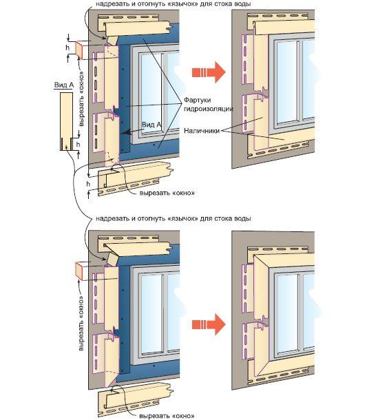 Схема обрамления окна при обшивке фасада сайдингом