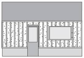 Схематическое изображение вертикальной обрешетки.
