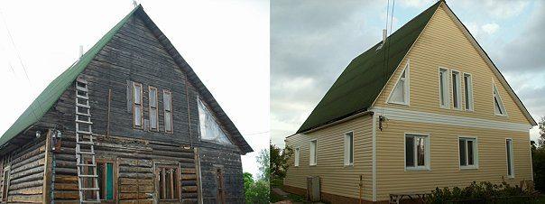 Фото дома до облицовки сайдингом и после.