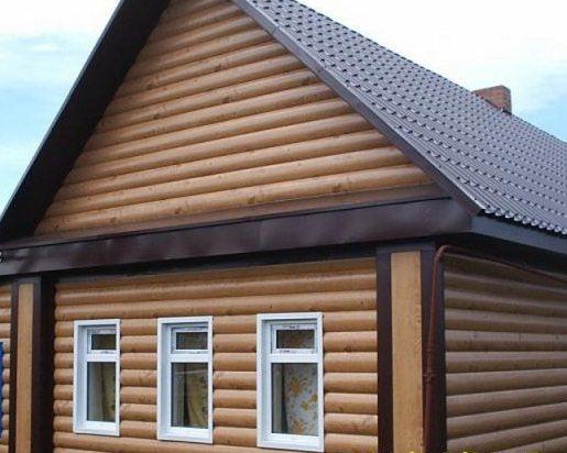 Отделка фасада виниловым Блок-Хаусом