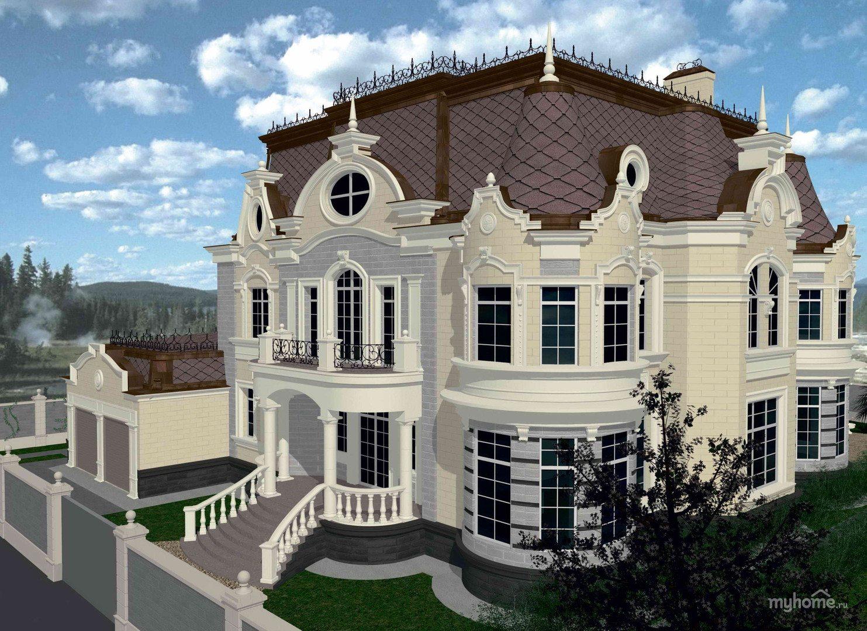 Классический стиль барокко в архитектуре загородного особняка
