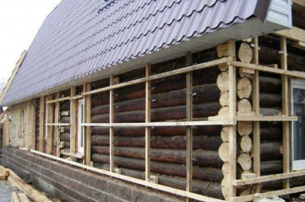 Утепление фасада бревенчатого дома
