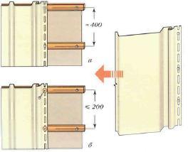 Правила установления крепежа вертикального сайдинга (в мм): а – в местах с умеренными ветрами; б – в местах с сильными ветрами