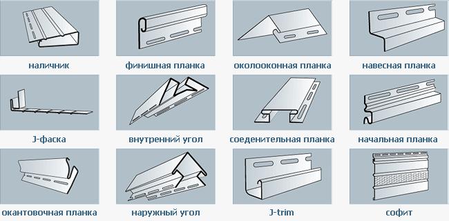 Виды отделочных планок для монтажа (толщина винилового сайдинга 1.2 мм)