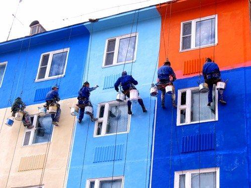 Покраска фасада многоэтажного дома