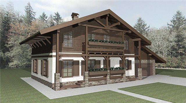 В данном оформлении фасада строения эффектно сочетается древесина и элементы натуральной каменной кладки