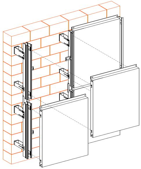 ...оставляя воздушный зазор, закрывают декоративно-защитным покрытием из композитных панелей типа Alucobond...