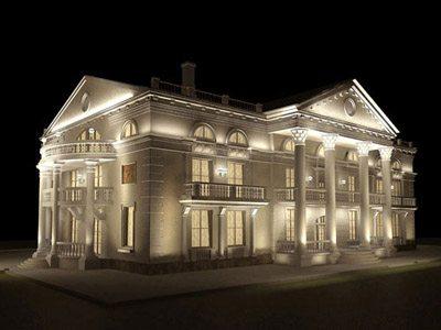 освещение фасада здания