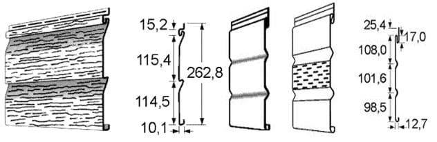 Параметры среза панелей и софитов сайдинга