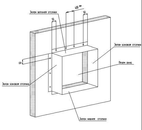Схема установки отсечек в системе навесных фасадов ALUCOM
